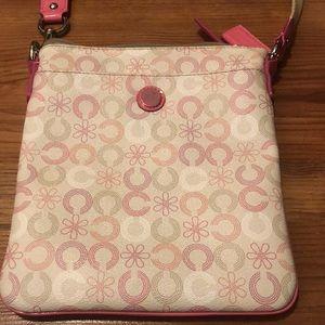 Coach Patent Leather Logo Waverly Flower Swingpack Crossbody Purse